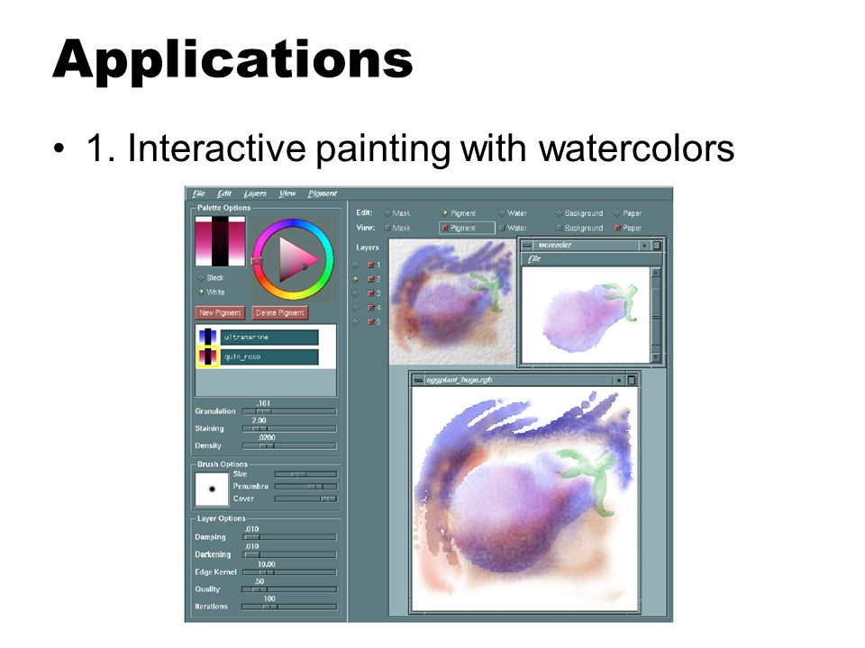 Applications 1. Interactive painting with watercolors