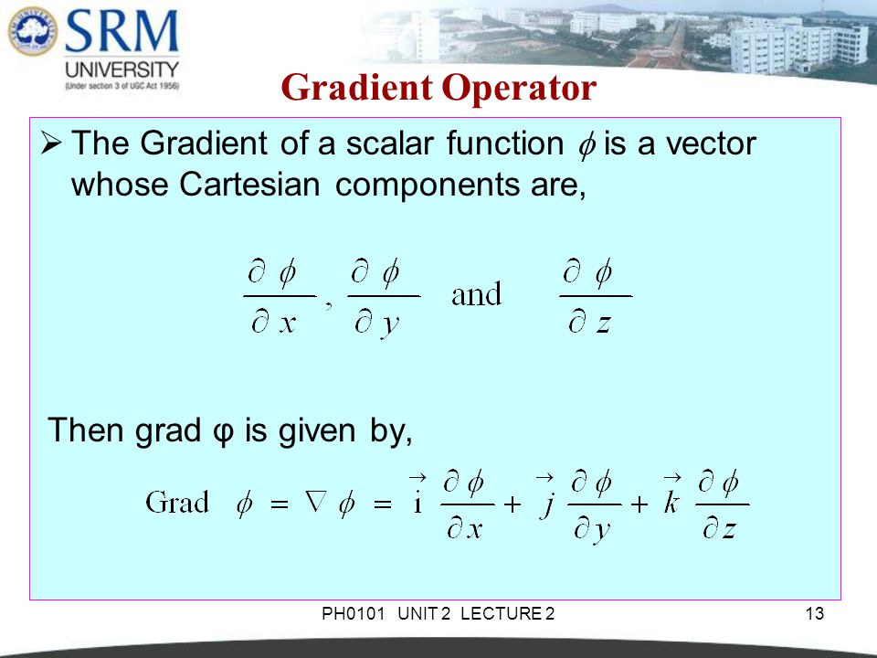 Gradient Operator The Gradient of a scalar function  is a vector whose Cartesian components are, Then grad φ is given by,