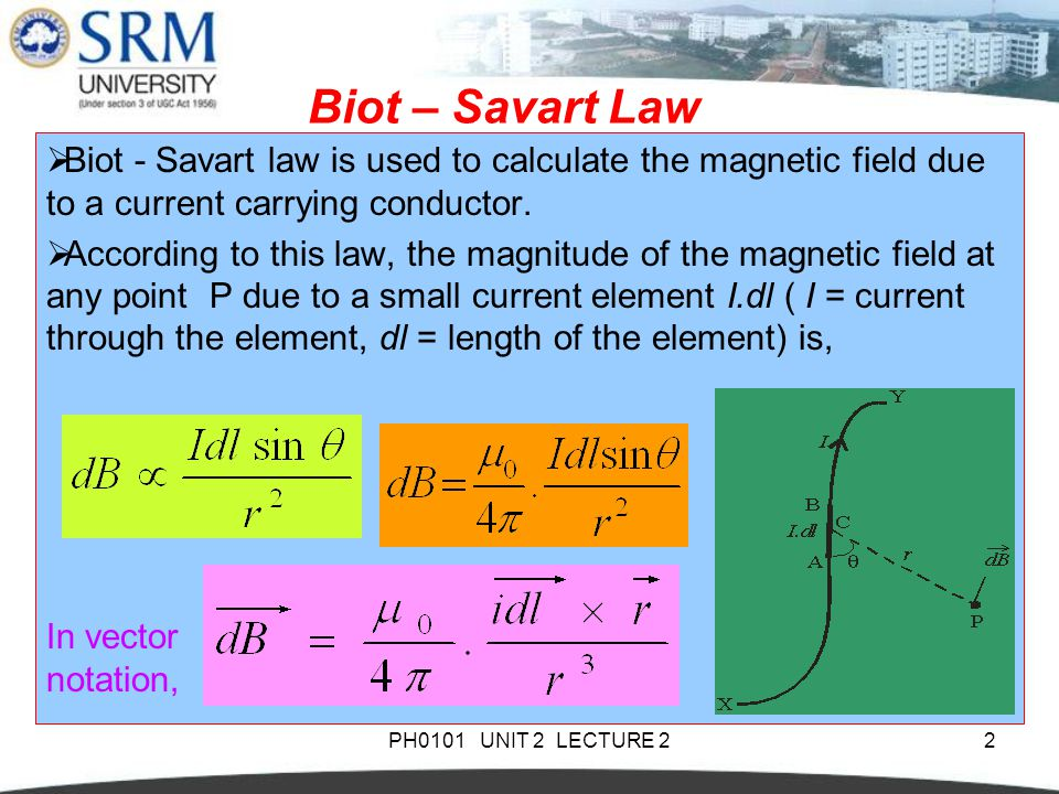 Biot – Savart Law Biot - Savart law is used to calculate the magnetic field due to a current carrying conductor.