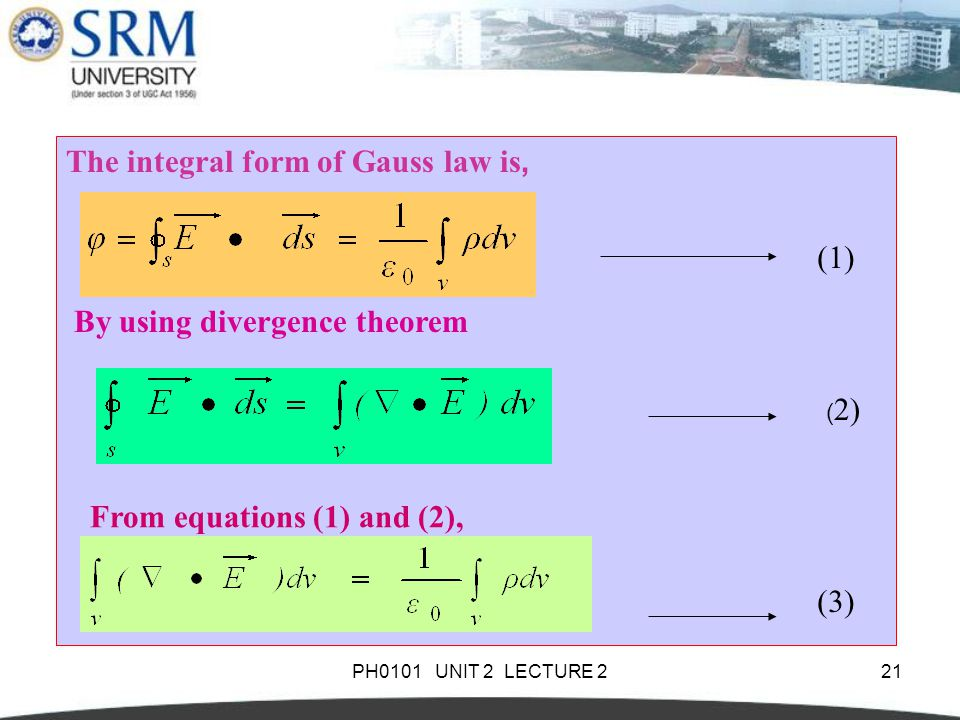 The integral form of Gauss law is,