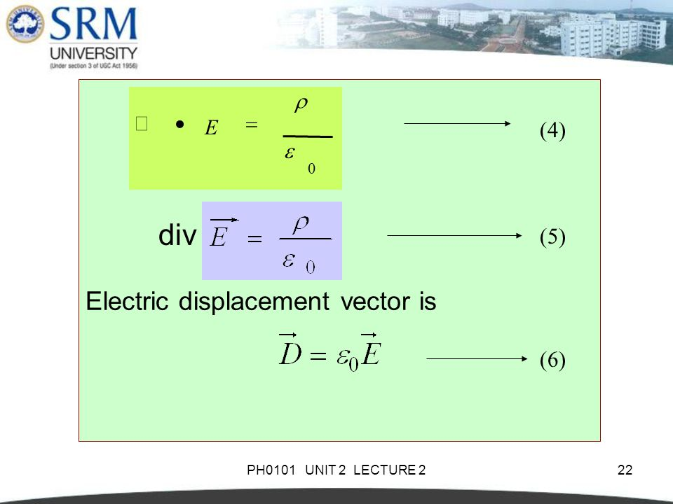 div div Electric displacement vector is (4) (4) (5) (5) (6) e r = · Ñ