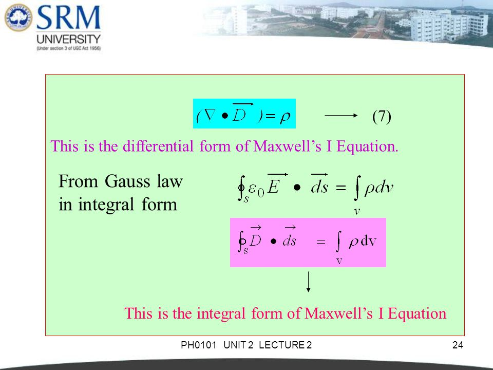 From Gauss law in integral form