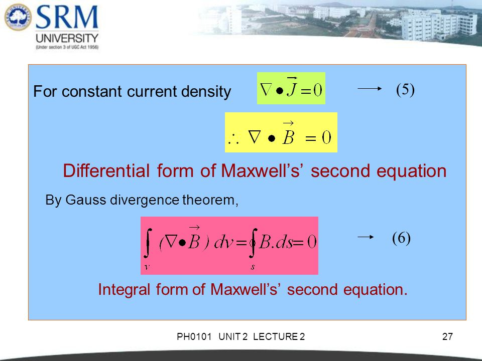 Differential form of Maxwell's' second equation