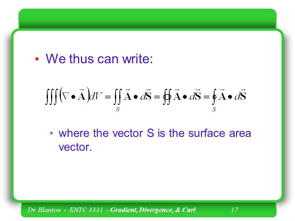 We thus can write: where the vector S is the surface area vector.