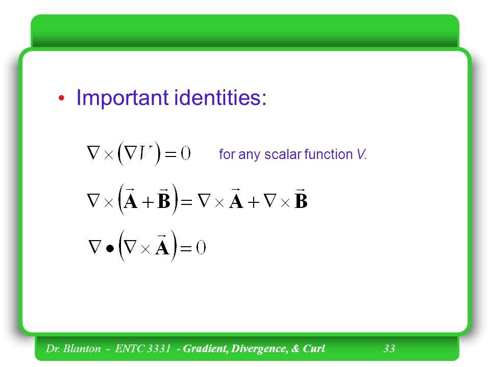 Important identities: