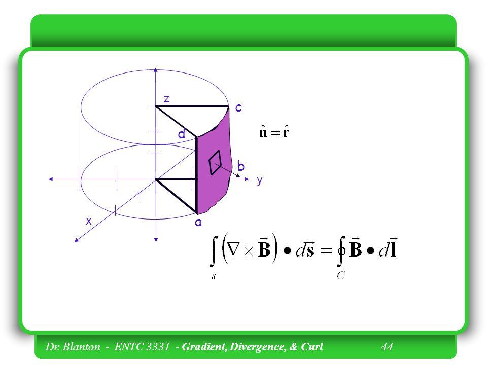 z c d b y x a Dr. Blanton - ENTC 3331 - Gradient, Divergence, & Curl 44