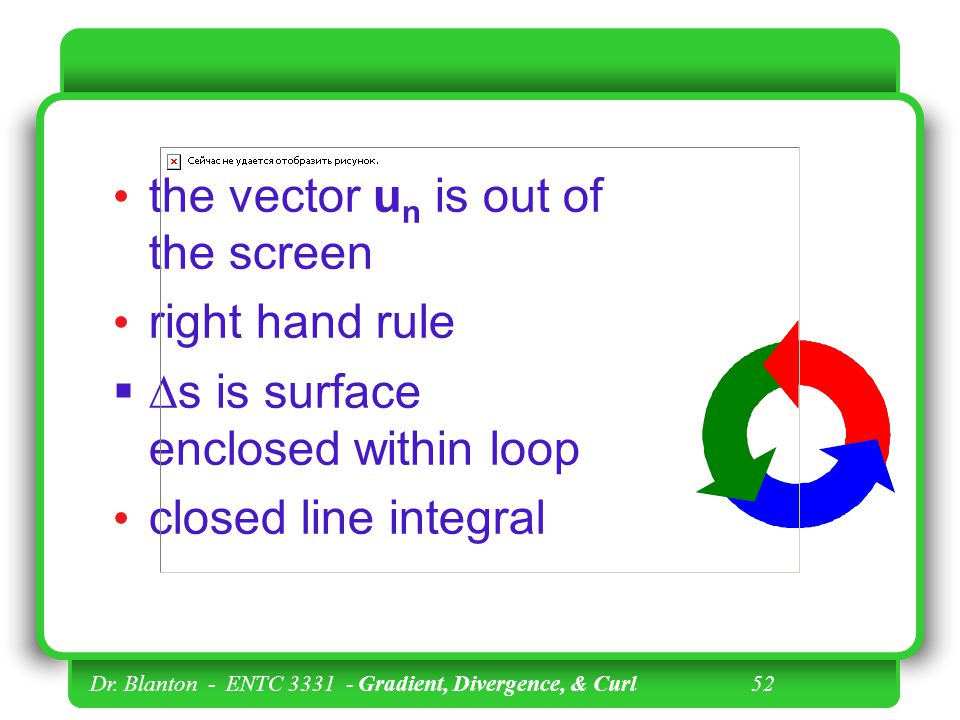 the vector un is out of the screen right hand rule