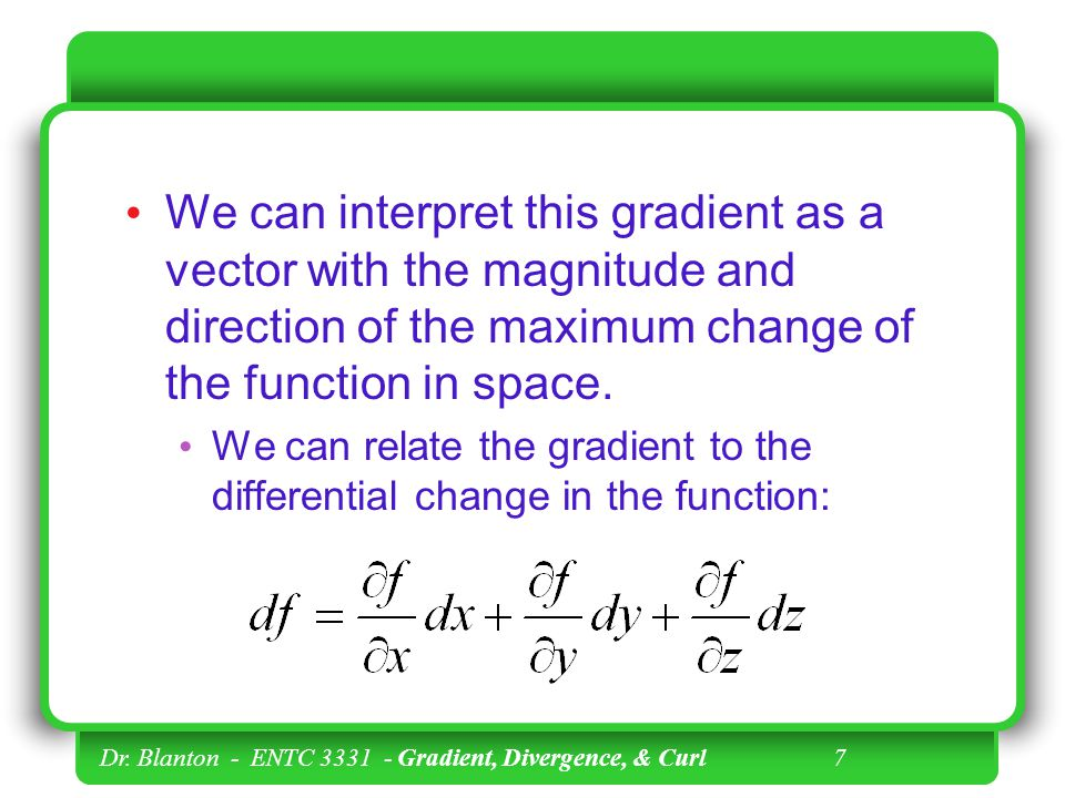 We can interpret this gradient as a vector with the magnitude and direction of the maximum change of the function in space.