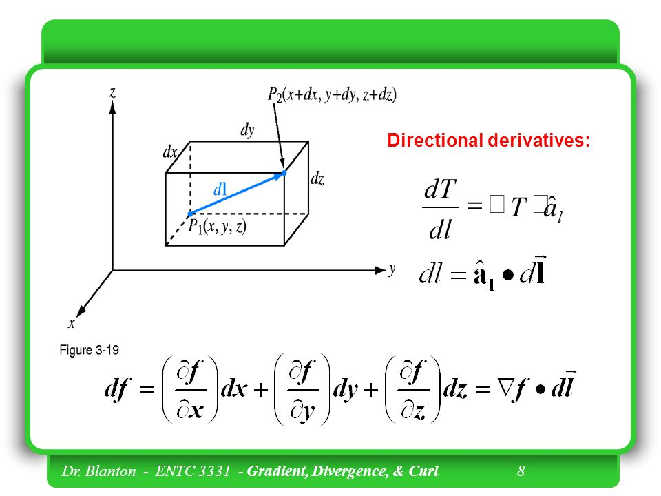 a T dl dT ˆ × Ñ = Directional derivatives: l