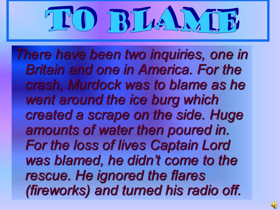 To Blame