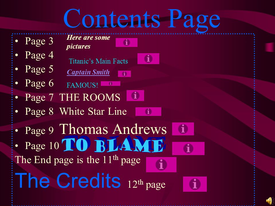 Contents Page The Credits 12th page To Blame Page 3 Page 4 Page 5