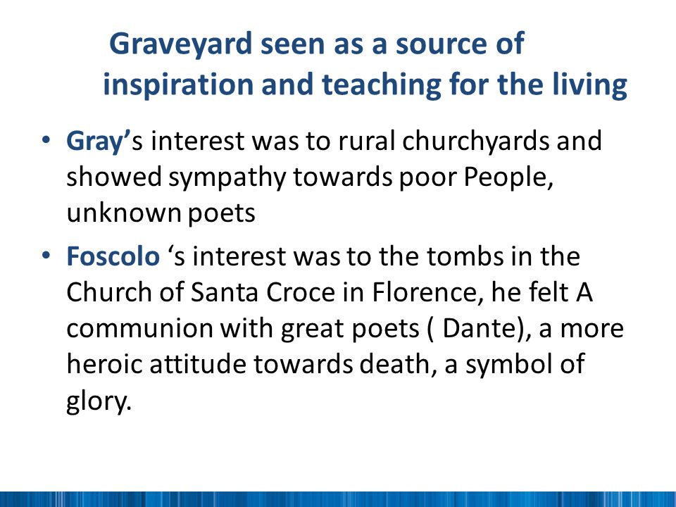 Graveyard seen as a source of inspiration and teaching for the living