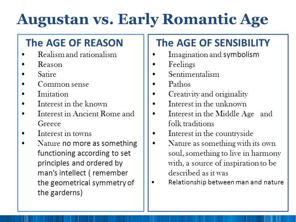 Augustan vs. Early Romantic Age