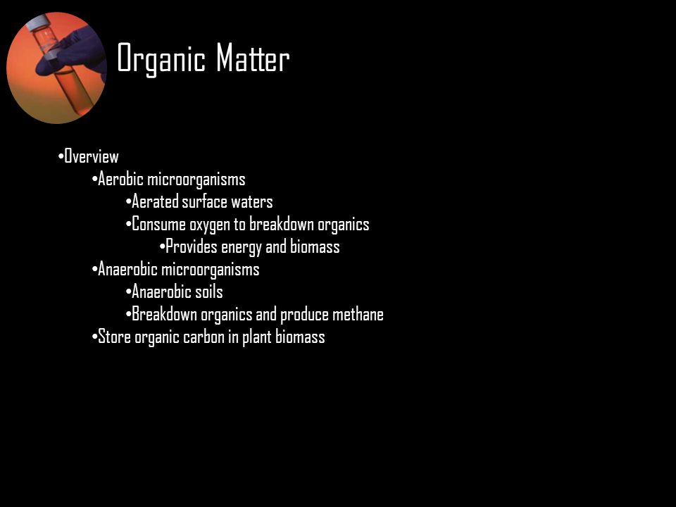 Organic Matter Overview Aerobic microorganisms Aerated surface waters