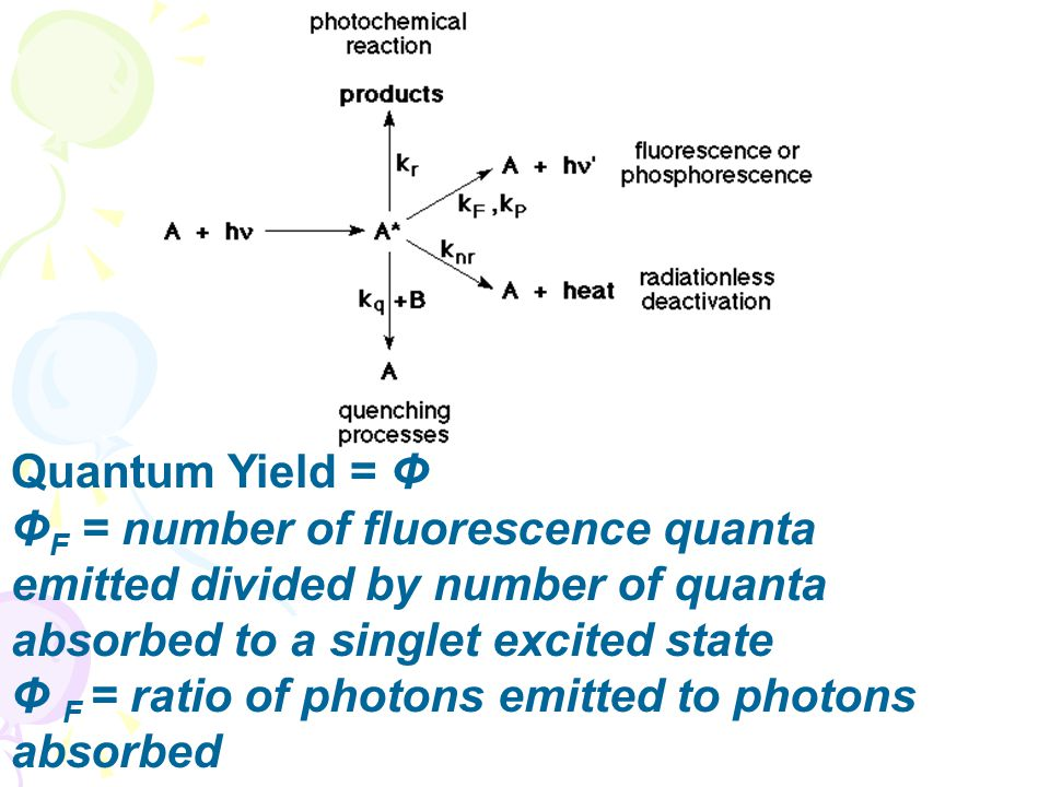 Quantum Yield = Φ ΦF = number of fluorescence quanta emitted divided by number of quanta absorbed to a singlet excited state.