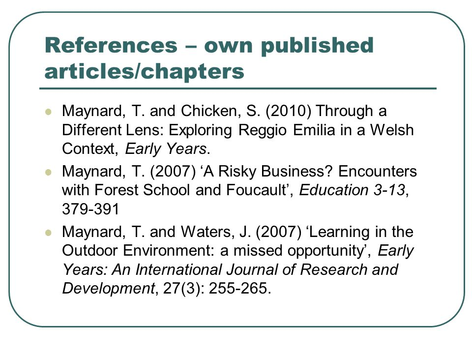 References – own published articles/chapters
