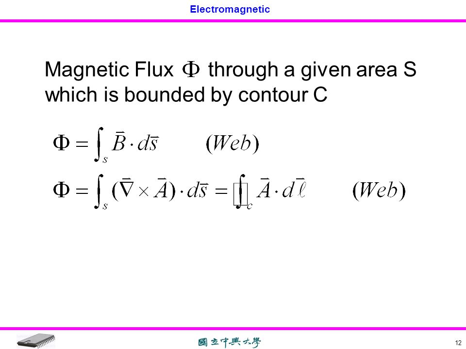 Magnetic Flux through a given area S which is bounded by contour C
