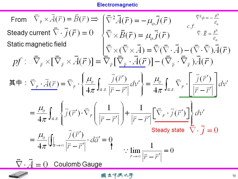 From Steady current Static magnetic field 其中: Coulomb Gauge