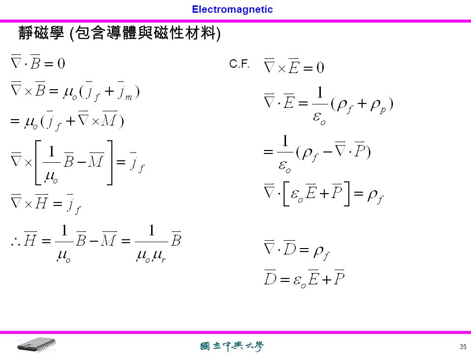靜磁學 (包含導體與磁性材料) C.F.