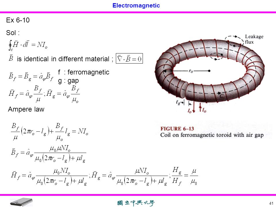 Ex 6-10 Sol : is identical in different material ; f : ferromagnetic g : gap Ampere law