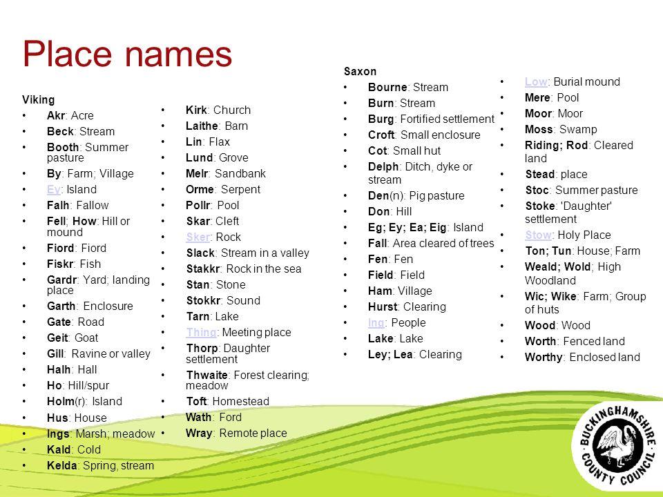 Place names Saxon Bourne: Stream Burn: Stream