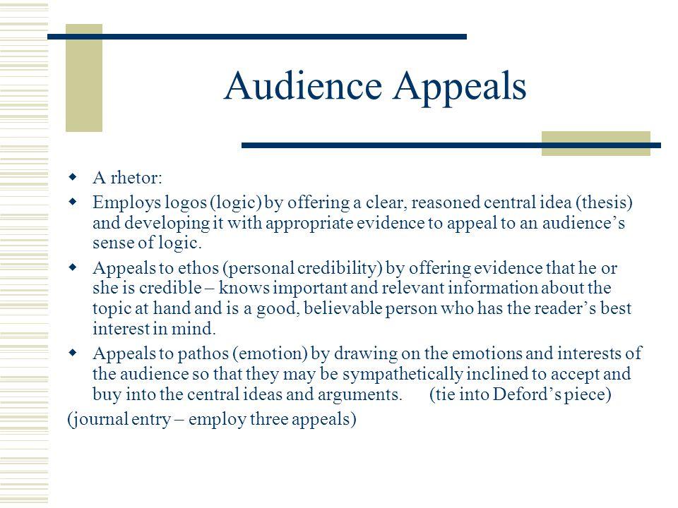 Audience Appeals A rhetor: