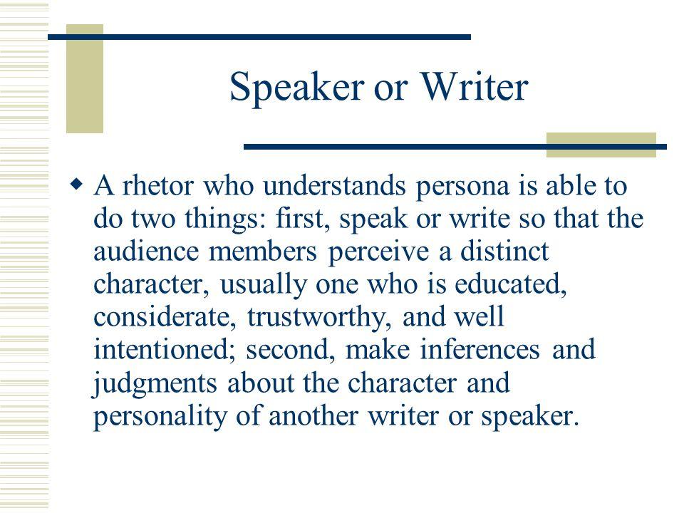 Speaker or Writer