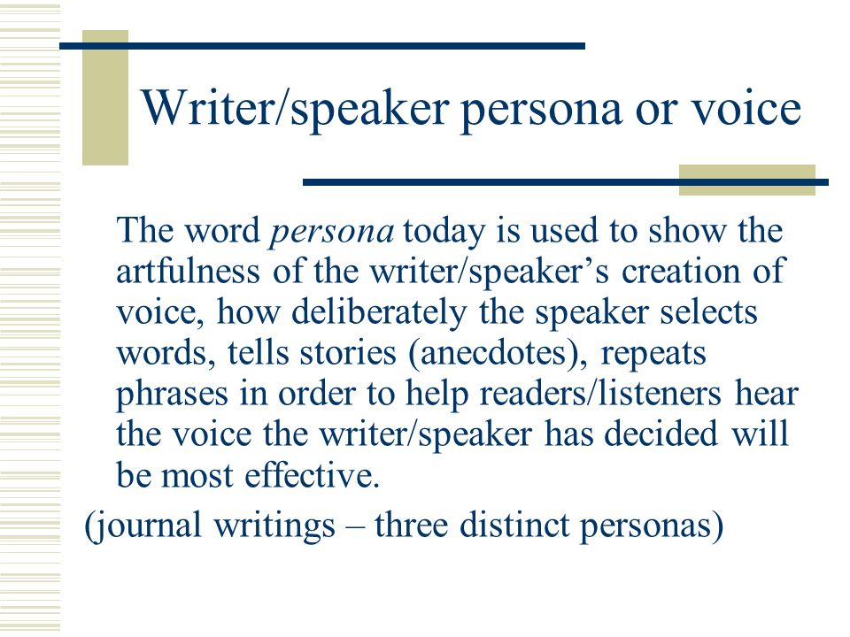 Writer/speaker persona or voice