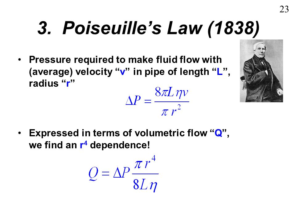 23 3. Poiseuille's Law (1838) Pressure required to make fluid flow with (average) velocity v in pipe of length L , radius r