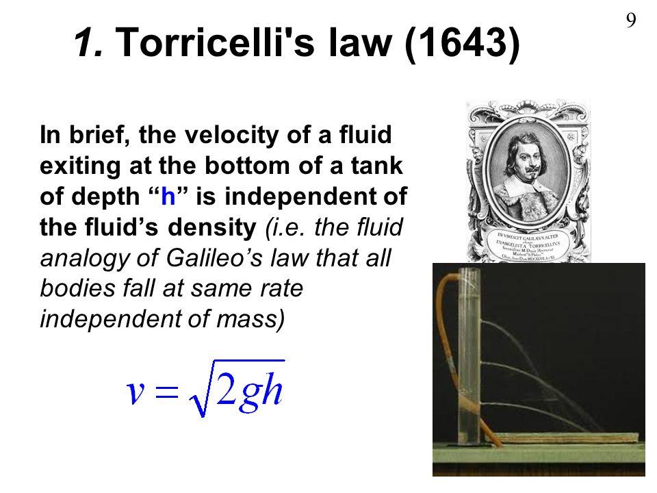 1. Torricelli s law (1643) 9.