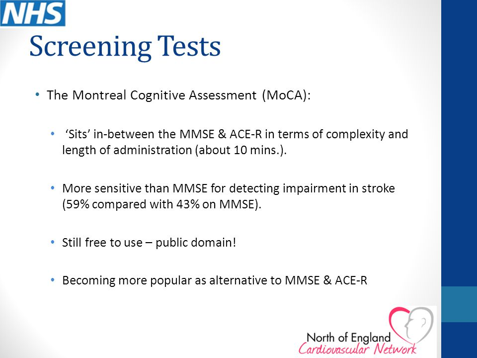 Screening Tests The Montreal Cognitive Assessment (MoCA):