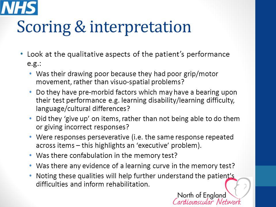Scoring & interpretation