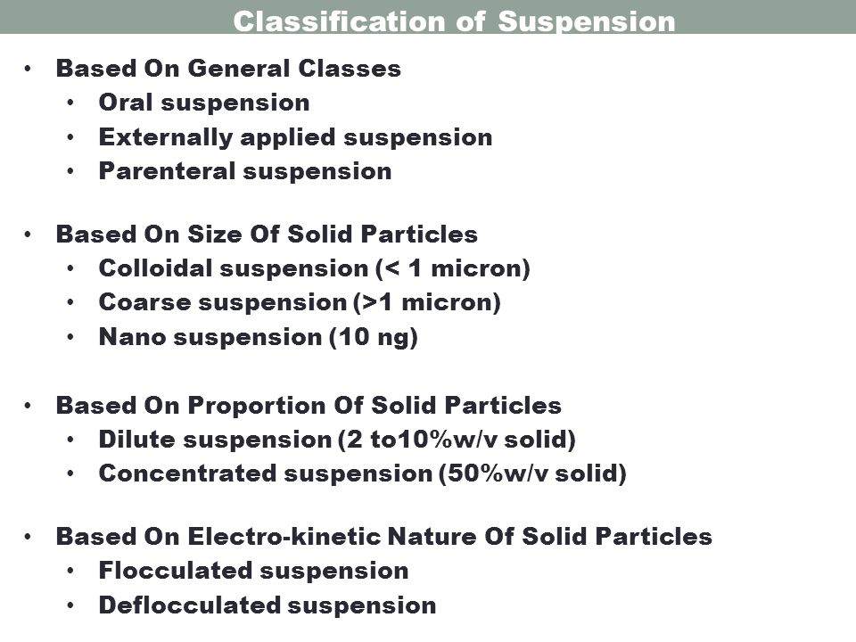 Classification of Suspension