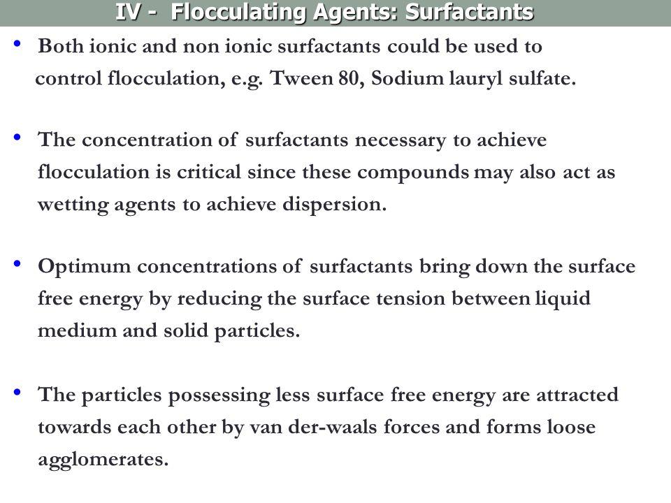 IV - Flocculating Agents: Surfactants