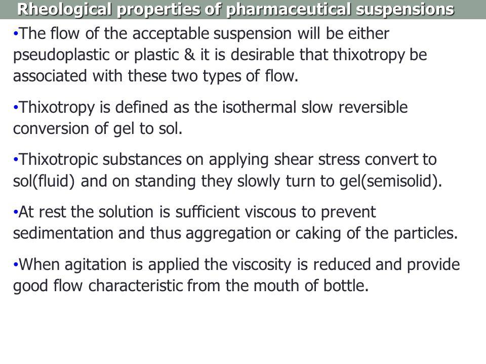 Rheological properties of pharmaceutical suspensions