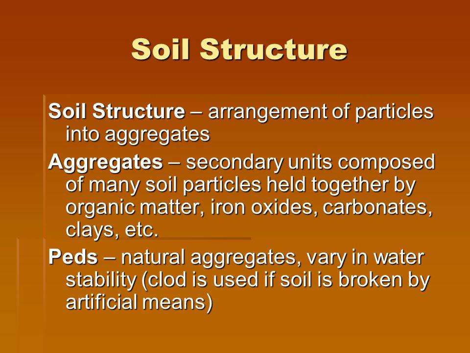 Soil Structure Soil Structure – arrangement of particles into aggregates.