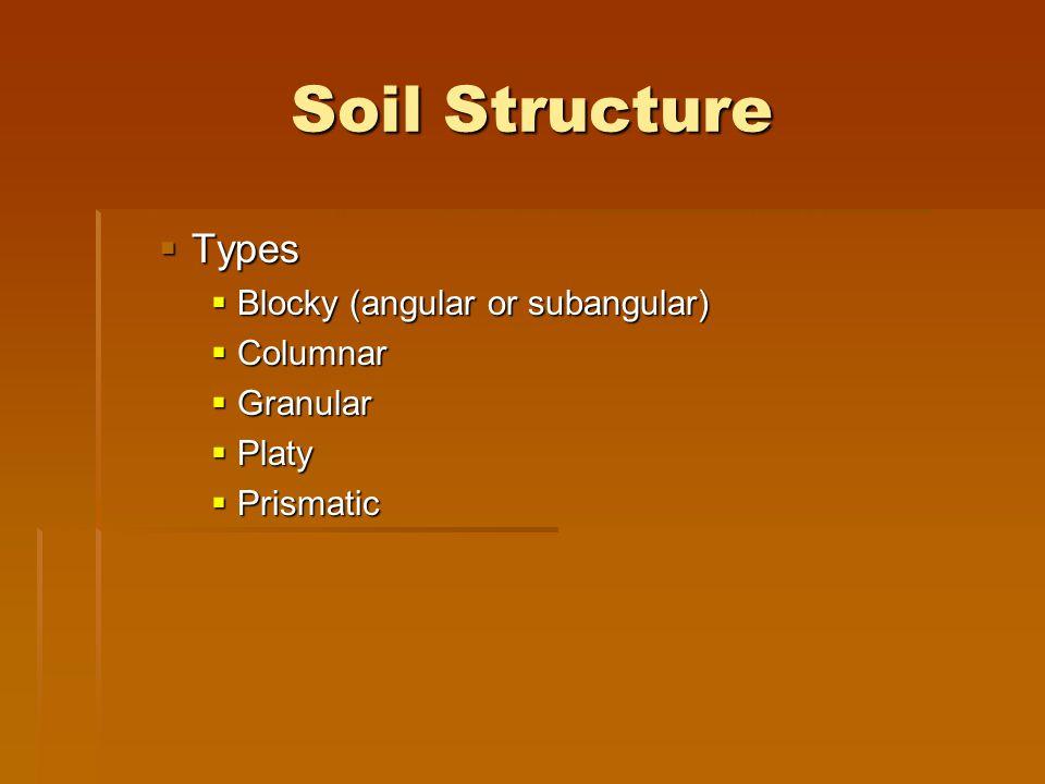 Soil Structure Types Blocky (angular or subangular) Columnar Granular