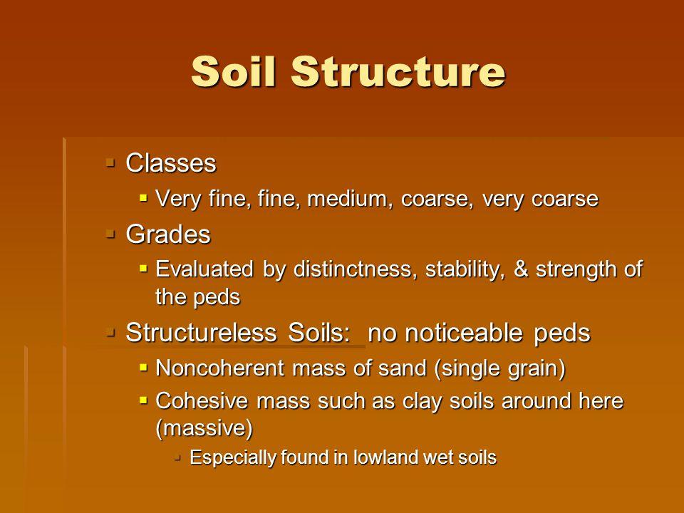 Soil Structure Classes Grades Structureless Soils: no noticeable peds