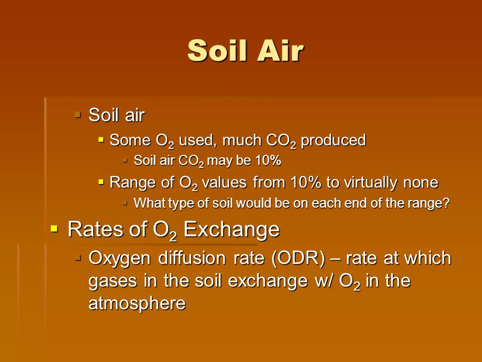 Soil Air Rates of O2 Exchange Soil air