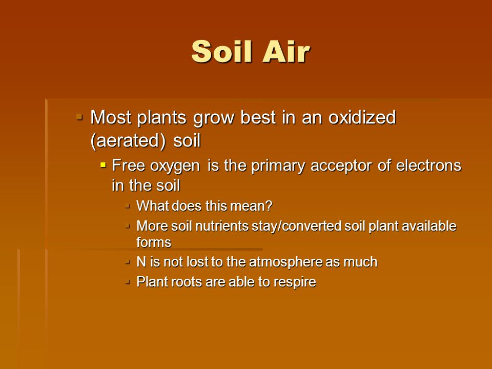 Soil Air Most plants grow best in an oxidized (aerated) soil