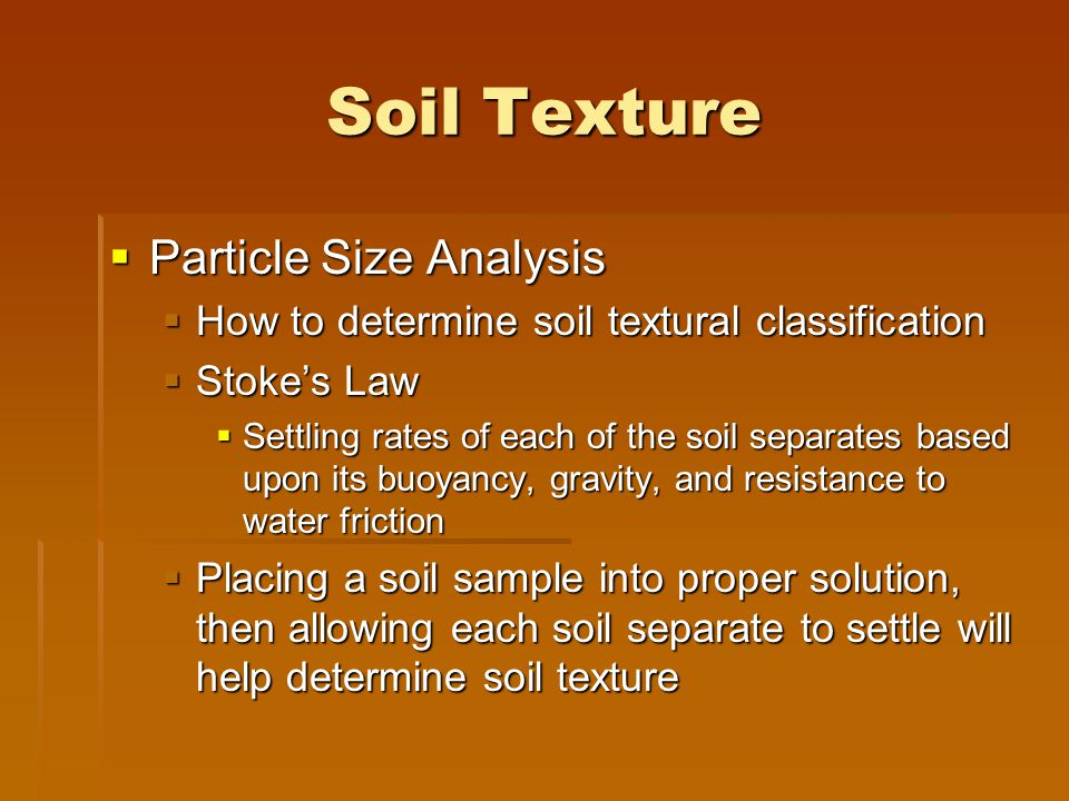Soil Texture Particle Size Analysis