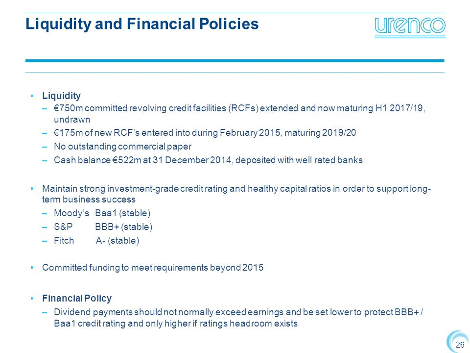 Liquidity and Financial Policies