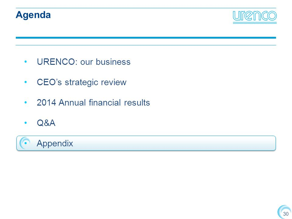 Agenda URENCO: our business CEO's strategic review