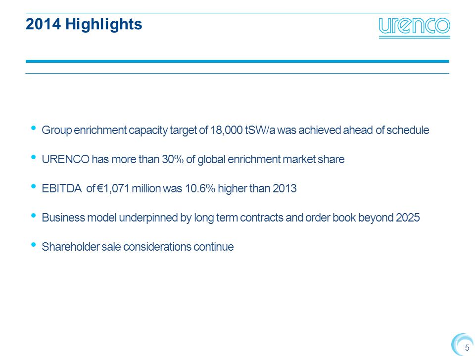 2014 Highlights Group enrichment capacity target of 18,000 tSW/a was achieved ahead of schedule.