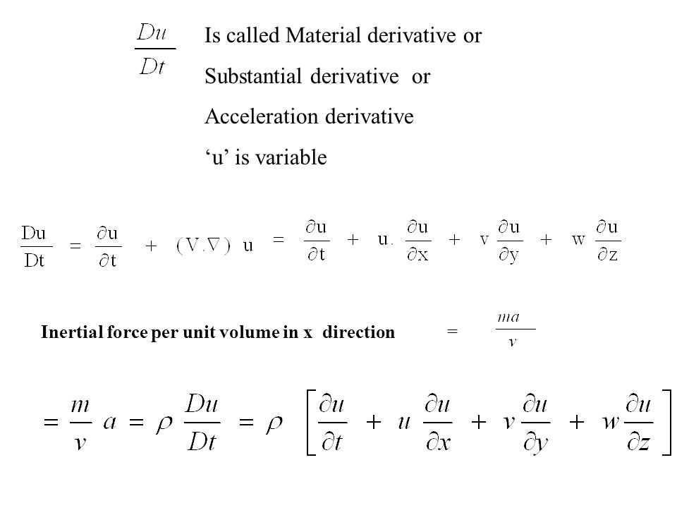 Is called Material derivative or Substantial derivative or