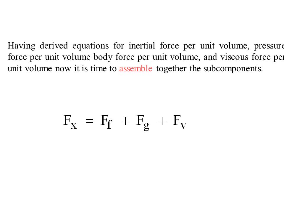 Having derived equations for inertial force per unit volume, pressure force per unit volume body force per unit volume, and viscous force per unit volume now it is time to assemble together the subcomponents.