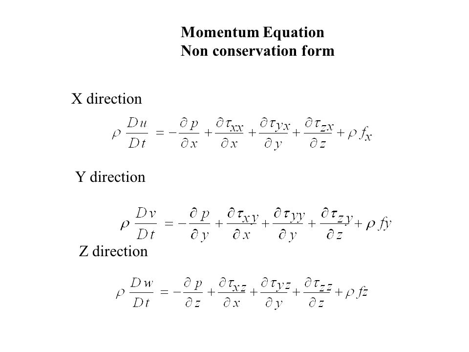 Momentum Equation Non conservation form X direction Y direction