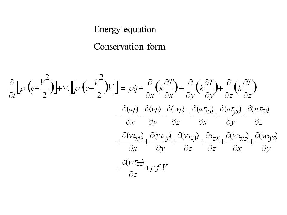 Energy equation Conservation form
