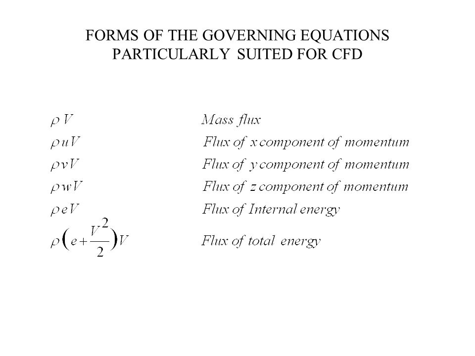 FORMS OF THE GOVERNING EQUATIONS PARTICULARLY SUITED FOR CFD