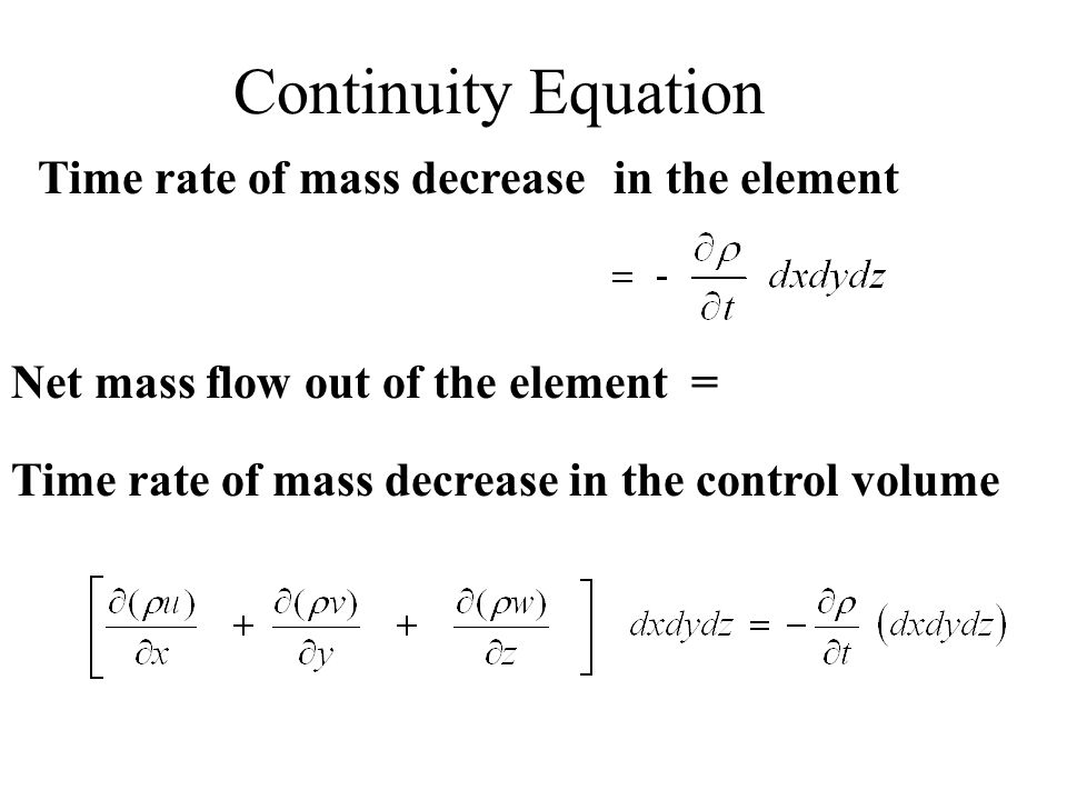 Continuity Equation Time rate of mass decrease in the element